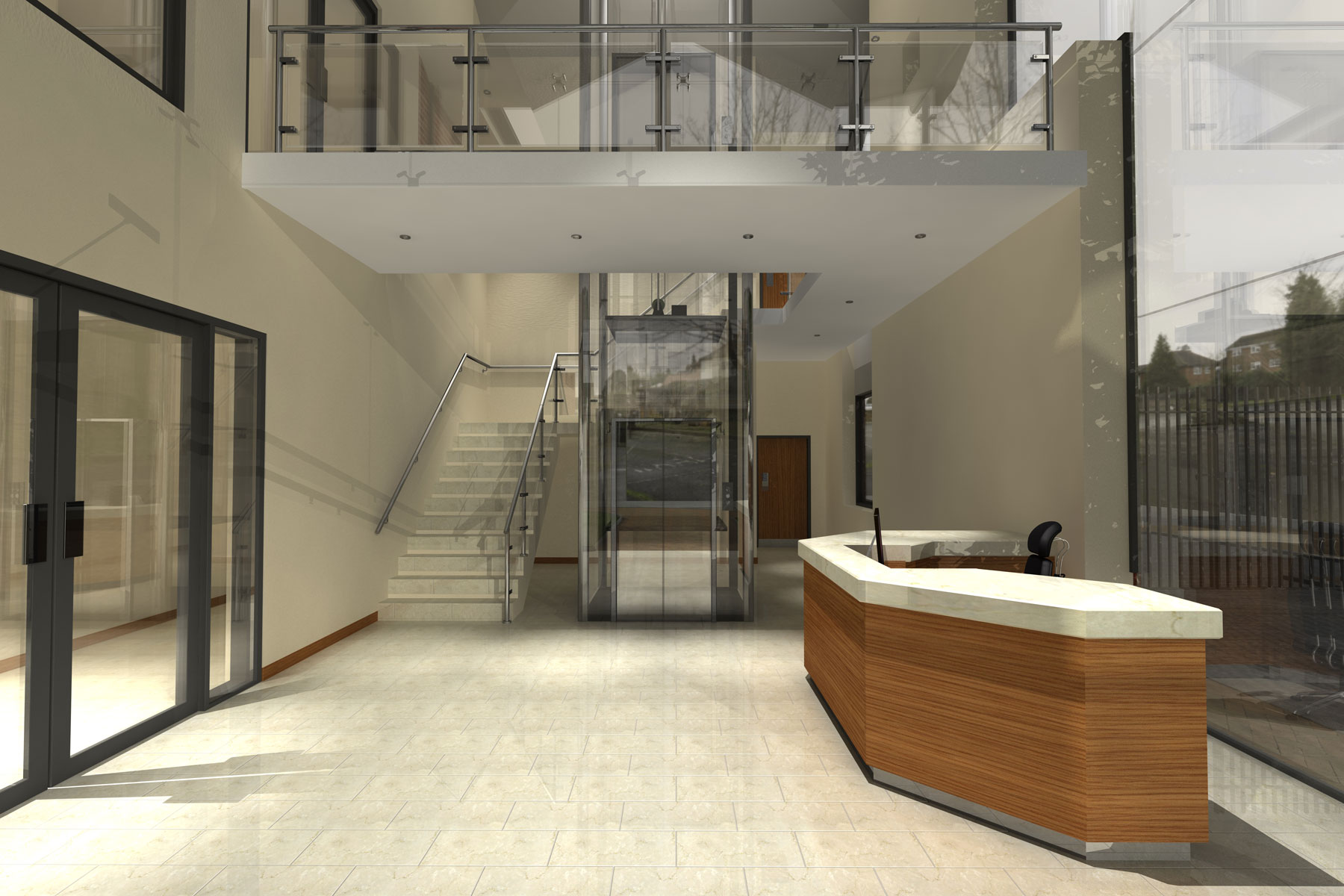 Chertsey Offices entrance lobby by KHA Architects