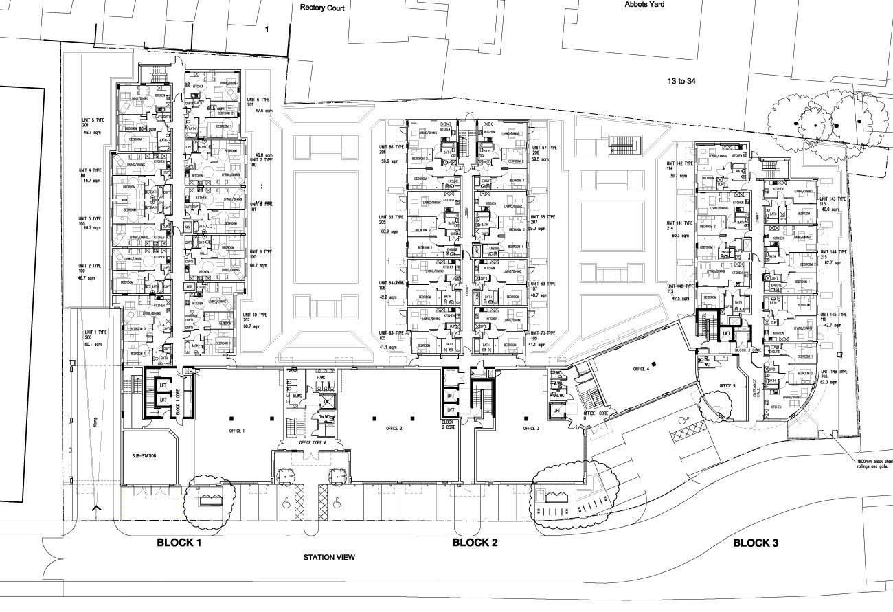 Guildford flats site plan by KHA Architects.